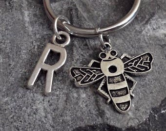 Great Design brass stamping bee personalized  initial keychain /u1