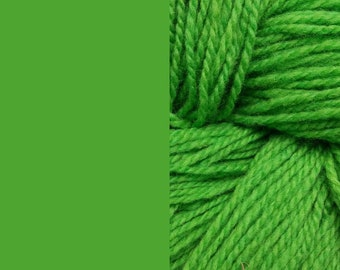 Wool yarn, lime green, bulky 2-ply worsted pure wool knitting yarn 50g/65m cake