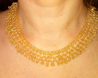 Gold and silver lace necklace