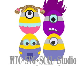 SVG Cut File 4 Easter Egg Minions  SCAL MTC Cricut Silhouette Cutting Files