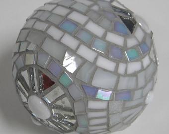 White Mirror Mosaic Gazing Orb, White Decor, Hostess Gift, Glass Mirror Orb, Bridal Shower Gift, Third Anniversary Gift, Housewarming Gift