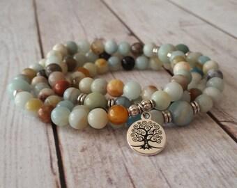 108 Mala Necklace, Amazonite Mala, 108 Beaded Prayer Necklace, 108 Mala Bracelet, 108 Beaded Mala, Tree Mala Necklace, Tree of Life Mala