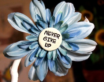 Never Give Up Flower Hair Clip in Blue