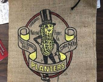 Planters Peanuts Advertising Burlap Gunney Small Sacks