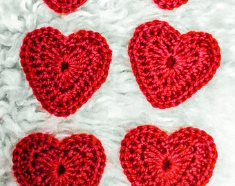 On Sale: Big Crochet Valentine Heart Appliqués, Wedding Favors, Set Of 6, Red, Pink, Packaging Idea