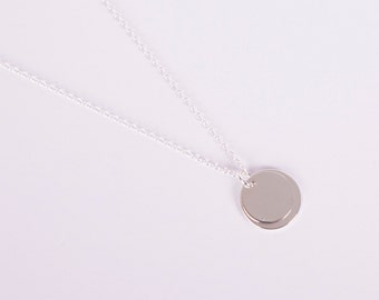 Silver Necklace Disc Silver  Coin Rose Silver Plated Necklace
