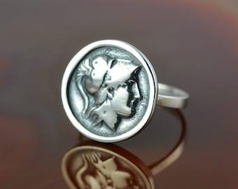 ancient greek coin silver ring, Athena ring, ancient coin, greek coin ring, greek jewelry, coin ring, antique ring, greek goddess ring