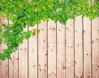 Wood Wall Backdrop - green bush on plank wall, wooden floor - Printed Fabric Photography Background G0238