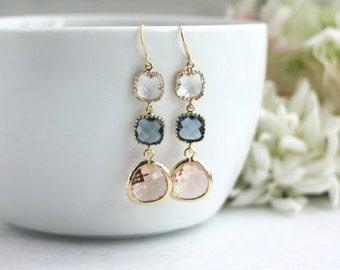 Wedding Earrings Champagne Peach Dark Blue Navy Blue Glass Earrings Peach Wedding Navy Blue Wedding Modern Minimalist Blue and Peach Wedding
