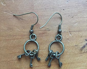 Antique Gold Key Earrings