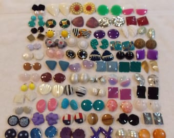 Vintage lot earrings clip on clamp back styles, over 65 pairs lightweight coated enameled fabric geometric