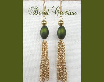 Foster green beads with gold chains