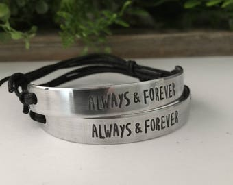 His and Hers Couples Bracelets, Couples Bracelets - Always and Forever Bracelets - Couples Bracelets Set His and Hers
