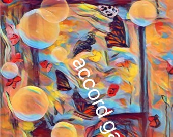 Painting Butterflies and Bubbles, abstract
