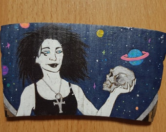 Sandman coffee cup sleeve - Death (varnished and re-usable)