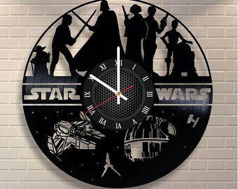 "STAR WARS Millennium Falcon VINyL RECoRD CLOCK made from 12"" Vinyl Record best gift for kids bedroom gift for star wars fans"