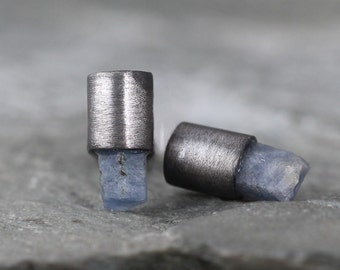 Blue Sapphire Earrings - Modern Raw Sapphire Stud Earring - Rustic - September Birthstone - Tube - Sterling Silver Pierced Stud Earring