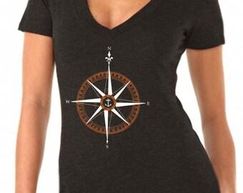 sailing gift - sailing shirt - sailing print - womens tshirts - nautical shirt - nautical gifts - beach shirt - COMPASS ROSE - deep vneck