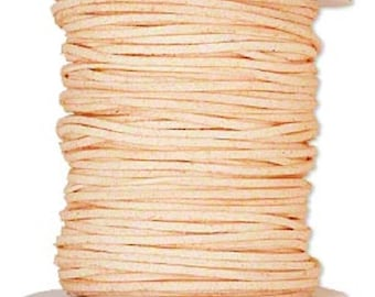 Faux Suede Leather Cord Lace Peach Pink Soft Cotton 3mm wide for necklaces and bracelets, 10 or 25 ft.