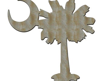 Unfinished Wood South Carolina SC Palmetto Tree 14 inch tall with Moon shape