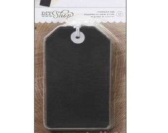 Set of 12 large tags effect slate American Crafts scrapbooking card making. *