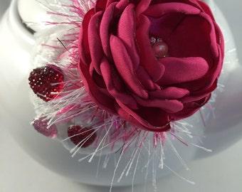 Valentine fascinator, Rose fascinator, Valentine, Fabric flower, Flower hair clip, Valentine hair clip, Valentine hairclip, Valentine's Day