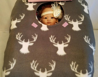 "Car Seat Cover Gray Buck Camo Baby Girl n Pink Fleece Cozy Hand Made Infant Custom Embroidery ""My Little Dear"" or ""My Little Doe"" & Antlers"