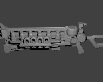 3-D printable Fallout Gauss rifle cosplay replica pattern