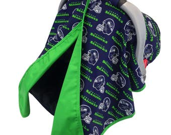 Sea Hawks Car Seat Tent Navy Lime Green