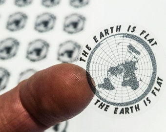 Mini Flat Earth Stickers × 35