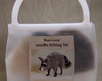 Raccoon needle felting kit...DIY