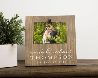 Personalized Picture Frame – Personalized Wedding Gift - Rustic Picture Frame - Wooden Picture Frame – Engagement Gift Idea – Gift for Bride