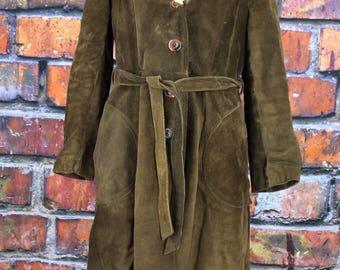 Vintage 1970s Suede Coat with Fun Fur Collar