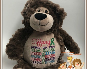 Celiac Disease, Warrior Pet, personalized, teddy bear