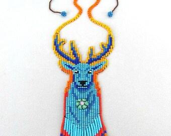 Blue Deer Necklace. Hikuri Necklace, Spirit Animal, Venadito Azul. Peyote Wisdom