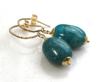 Gorgeous Arizona Turquoise Nugget Drop Earring in 22kg vermeil