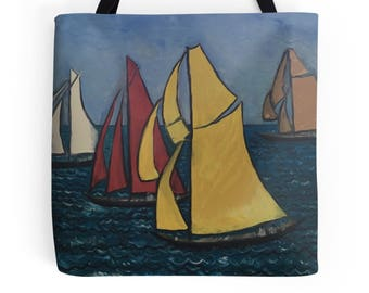 Beautiful Tote Bag Featuring A Design Based On The Painting 'Les Yacht Classiques'