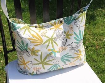 "Diaper cotton with pattern ""Savannah"" - nursery - bag, Hobo bag"
