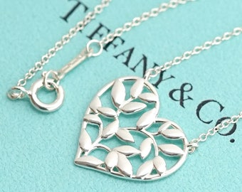 LIKE NEW!! Stunning Tiffany & Co. Sterling Silver Olive Leaf Heart