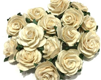 Pale Ivory Open Mulberry Paper Roses Or112