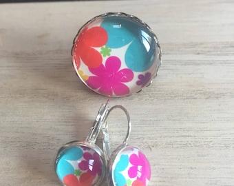 All ring earrings floral earrings
