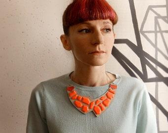 Geometric Leather Necklace neon orange and grey, bib asymmetric necklace, natural leather jewelry, minimalist, neon