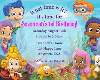 Bubble Guppies Birthday Party Invitation/ Little Mermaids Party Invite