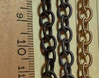 Cable chain- textured cable chain 6.5 x 8 mm sturdy high quality by the foot or roll-rolls up to 30% off-jewelry makers chain-KR881