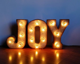 """Metal Marquee Sign 7"""" JOY Marquee Lights"""