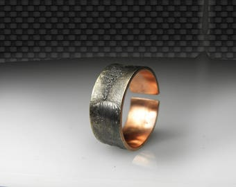 mixed metal man ring, adjustable or connected ring , copper silver, textured, oxidized