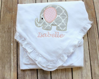Personalized Baby Blanket, Personalized Girls Baby Blanket, Monogrammed Elephant Baby Blanket, Monogrammed Blanket for Baby Gift, New Baby
