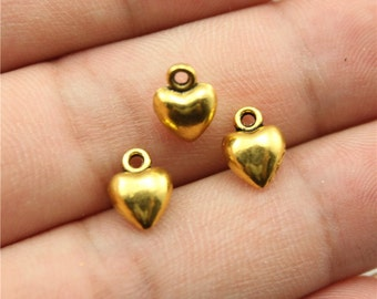 10 Solid Heart Charms, Antique Gold Tone Charms (1C-85)