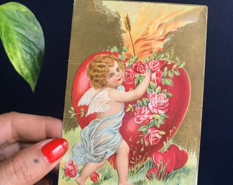 """Antique """"To My Valentine"""" Post Card With Cupid, Roses and Flaming Heart"""