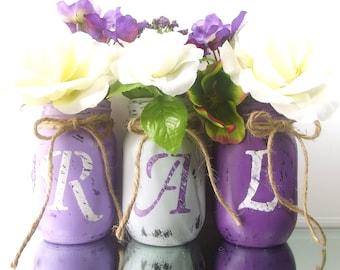 Personalized Mason Jars, Initial Mason Jars, Personalized Decor, Decorative Mason Jar Set, Dorm Decor, Mason Jar Centerpieces